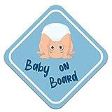 Baby on Board Autoaufkleber 10x10cm Sticker für Fahrzeuge Auto Heckscheibe Kinder Aufkleber Kfz Zubehör Selbstklebend Wetterfest R129 (Burzelbaum, Junge)