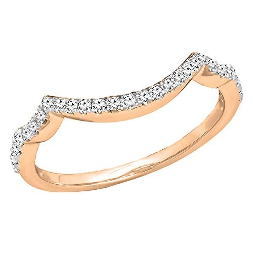Dazzlingrock Collection 0,20 quilates (quilates) redondo de diamante blanco cultivado en laboratorio, banda de protección para el contorno de boda de 1/5 quilates, oro rosa de 14 quilates, talla 7