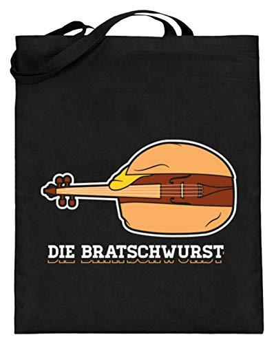Chorchester Die Bratsch-Wurst Bratsche Viola Geige - Jutebeutel (mit langen Henkeln) -38cm-42cm-Schwarz