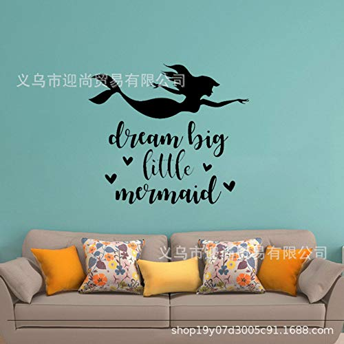 JXFFF Hermosa Sirenita Dream Big Little Mermaid Wallpaper Dormitorio 57x65cm