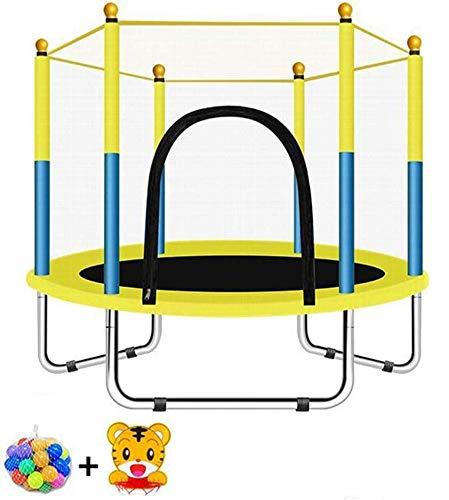 XLYAN Trampoline Premium Garden Fitness, Red De Cerramiento De Seguridad De PVC, Almohadilla De Resorte, Colchoneta De Salto Y Resortes Duraderos Salto Al Aire Libre Entretenimiento Familiar,Yellow
