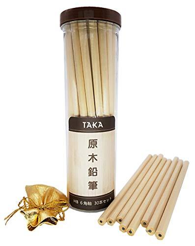 TAKA 鉛筆 30本セット 6角軸 鉛筆hb 原木 リサイクル 無地鉛筆 シンプル 書き味が優しい 卒園、入学、お誕生日、記念品などプレゼントに最適 限定的な消しゴム付き