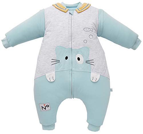 Chilsuessy Baby Schlafsack mit Füßen 3.5 Tog Winter Kinderschlafsack Jungen Babyschlafsack mit Beinen Mädchen,abnehmbar Langarm (Etikett 90/Baby Höhe 85-95cm, Blau Katze)