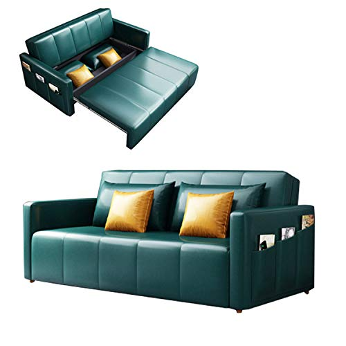YUYTIN Faux Leather Upholstered Modern Convertible Folding Futon Sofa Bed for Compact Living Space, Apartment, Dorm, Bonus Room w/Removable Armrests,1.5m
