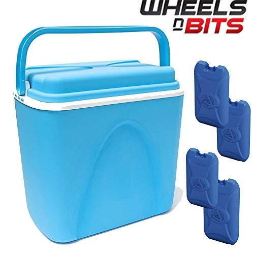 Wheels N Bits 24 Litre Large Cooler Box with Carry Handle & Lid Fully Food...