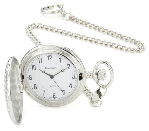 Bucasi PW1020SG Reloj de bolsillo con cadena grabable en tono plateado y dorado