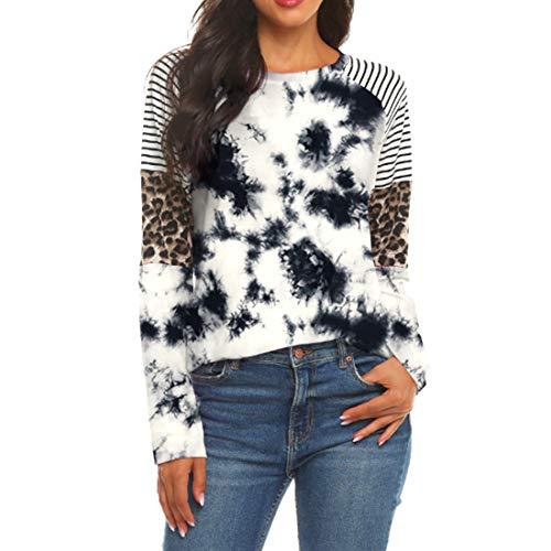 YJNH Women t Shirt Crew Neck Long Sleeve Patchwork Leopard Stripe Running t Shirt Loose Comfortable Fashion Casual Elegant Pullover Spring, Summer and Autumn New Sweatshirt Winter Bottoming Shirt M