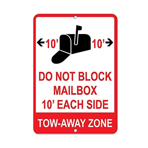 Tin Sign Warning Sign Novelty Sign Do Not Block Mailbox 10' Each Side Tow Away Zone Decor Room Metal Poster Wall Decor