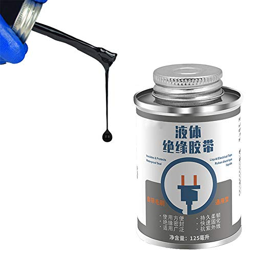 125ml Liquid Insulation Tape,Oil/Mould/Water Proof High Temperature Resistant,Flame Retardant Tape for Electric Circuit Data Cable Repair (Nero)