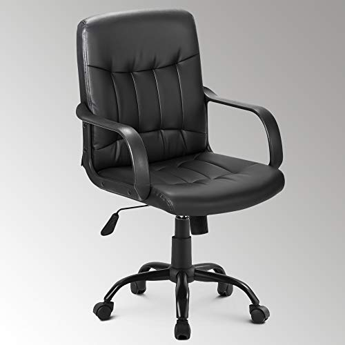 LIFE CARVER Medium Back Desk Chair with Arms 360 degree Swivel Computer Chair for Home Office Task Chair Adjustable Height Tilt Function Executive Chair Recline Cushioned Seat (PU)