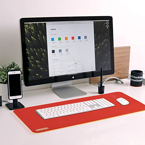 WERICO PU Cuoio Pad da Ufficio Multifunzionale,Impermeabile Antiscivolo Anti-Sporco Tappetino Mouse per Ufficio, Casa e Viaggi 60x30 cm (Rosso + Giallo)