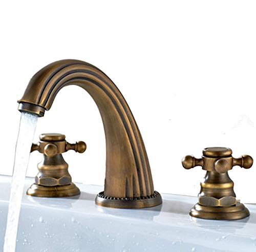 YI KUI Wasserhahn Zwei Handles Three Widespread Bathroom Sink Faucet, Antique Brass Finished Deck Mount Bathtub Mixer für Taps intage Flexible Lavatory Faucets