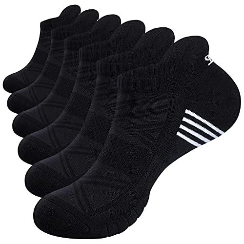 Alaplus Running Socks, Cushioned Trainer Socks Sports Socks Mens Socks Cotton Ankle Socks for Men Women Ladies Low Cut Anti-Blister Breathable Athletic Socks Walking Socks (6 Pairs  3 Pairs)
