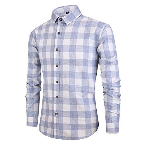 Herren-Karohemd Langärmeliges Herren-Baumwollhemd Business Daily Work Slim-Version - Hemd mit Stehkragen (hellgrau, dunkelgrau, hellblau)-Lightblue-S