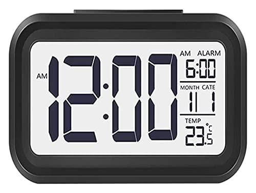GXT Reloj despertador digital, pantalla LED de 5,6 pulgadas, luz nocturna activada por repetición con calendario de fecha, temperatura para dormitorio, hogar, oficina, cocina, hora de planificación