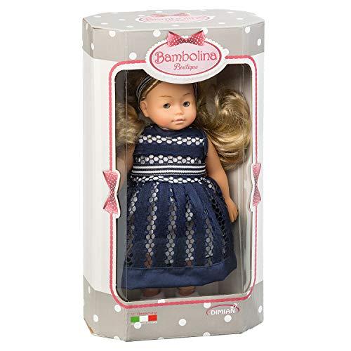 Dimian BD1652 - Puppe Bambolina Boutique mit langen Haaren und Kleid, ca. 20 cm