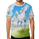FAJRO T-Shirt à Manches Courtes pour Homme Motif Licorne sur Gazon - - L