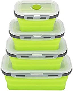 BePrincess Collapsible Bento Box,Made of Food Grade Silicone Folding Reusable Food Storage Container,Easy Cleaning Insulte...