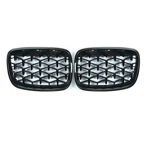 Parrilla de riñón del Coche Accesorios Diamond Grille Meteor Frente Estilo de la parrilla del coche styling de vehículo X5 X6 E70 E71 2007-2013 (Color : All black)