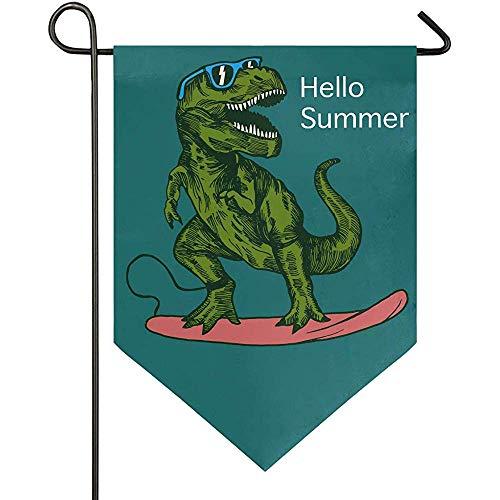 jenny-shop Hallo Sommer Dinosaurier Sonnenbrille Surfer Garden Flag Doppelseitiges lustiges Tier 12,5 x 18 Zoll