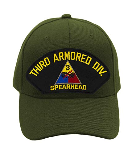 PATCHTOWN 3rd Armored Division Spearhead Hat/Ballcap Adjustable One Size Fits Most (Olive Green, Add American Flag)