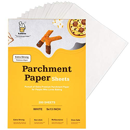 Katbite Heavy Duty Parchment Paper Sheets 200, 9x13 Inch Precut Parchment Sheets, Uses for Baking Cookies, Cooking, Air Fryer, Grilling