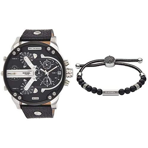 Diesel Reloj Analogico para Hombre de Cuarzo con Correa en Piel + Pulsera Cuerda para Hombre Sin Metal