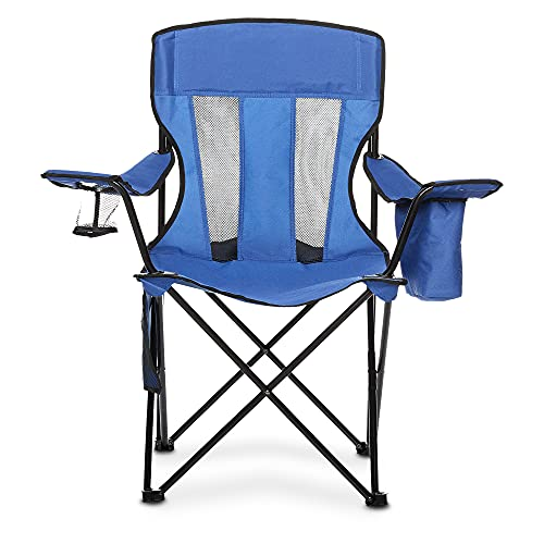 Amazon Basics Mesh Folding Outdoor Camping Chair With Bag - 34 x 20 x 36 Inches, Blue