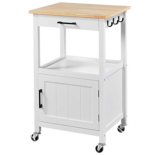 YAHEETECH Rolling Kitchen Island with Single Door Cabinet and Storage Shelf, Kitchen Cart with Drawer on Swivel Wheels for Dinning Room/Living Room, L22xW18xH35 New Mexico