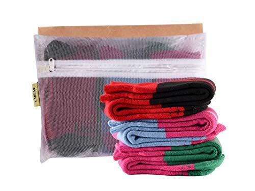 Laulax 3 paia di calzini da sci invernali per ragazze in cashmere, per sport invernali, set regalo, taglia Junior EU 33-39, rosso, rosa, blu