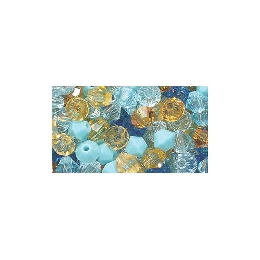Preciosa 4-Mm Czech Crystal Diamond/Bicone Bead, Sand and Sea Mix, 144-Piece