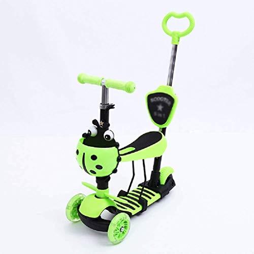 SZNWJ ygqtbc 3 Scooter de Rueda for los niños del niño de Edad 2-8, Vespa del Retroceso con LED luz Intermitente hasta Ruedas, Asiento extraíble Ajustable Manillar, Ligero Scooters (Color : B)