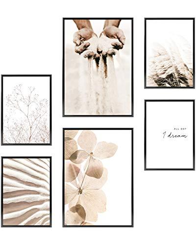 Heimlich® Premium Poster Set OHNE Bilderrahmen | Stilvolles Set mit passenden Bilder als Wohnzimmer Deko | 2 x DIN A3 & 4 x DIN A4 - ca. 30x42 & 21x30 | » Pampas Strand Sand «