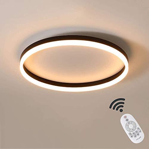 Cool Breeze LAMPE LED Runde Deckenleuchte Dimmbar Mit Fernbedienung, Schwarze Deckenlampe Modern, Deckenbeleuchtung Schlafzimmer, 24W, 1500LM, Designer Deko Lamp Farbwe