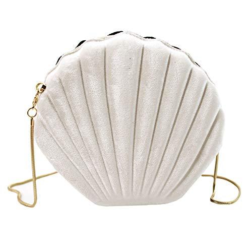 Milya Damen Mini Abendtasche Clutch Handtasche Mädchen Muschel Umhängetasche Cordsamt Partytasche Bankett Schultertasche mit Kette, Cordsamt Weiß