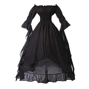 SHOPESSA Women s High Low Victorian Dress Puff Sleeve Off Shoulder Ruffle Medieval Costume for Women Renaissance Dress Black