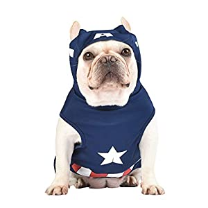 Marvel Legends Captain America Dog Costume, Medium (M) | Hooded Superhero Costume for Dogs | Blue & Red Captain America Costume Dog Halloween Costumes for Medium Dogs | See Sizing Chart for More Info