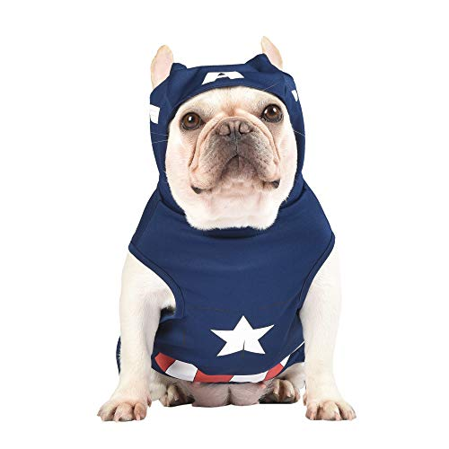 Marvel Legends Captain America Dog Costume, Large (L) | Hooded Superhero Costume for Dogs | Blue and Red Captain America Costume Dog Halloween Costumes for Large Dogs | See Sizing Chart for More Info