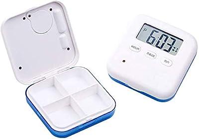 Samtlan Elektronische Pillendose Timer Alarm Pillendose Einfach zu Tasche mit 4 Fächer 5 X Separat Mehrere Alarme, Timer, Countdown und Zeit Display