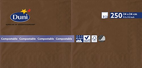 Duni 174030 3 plis Serviettes en papier, 24 cm x 24 cm, marrons (lot de 2000)