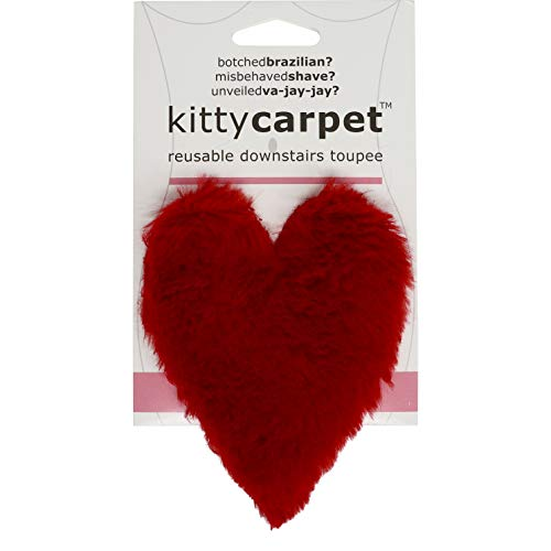 Kitty Carpet Reusable Downstairs Toupee Merkin, Funny Gag Gifts for Women (Red Heart)