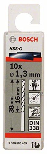 Bosch Professional Metallbohrer HSS-G geschliffen (10 Stück, Ø 1,3 mm)