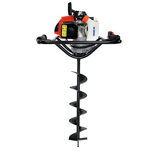 "XtremepowerUS 63CC V-Type 2 Stroke Gasoline Post Hole Digger 1-Person Dig Auger with 8"" inch Auger Bit (Digger + 6"" Bit)"