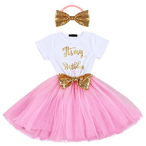 Baby Girls Newborn Christmas Birthday Party Cake Smash Princess Dress up Bowknot Sequin Tulle Tutu Dance Ball Gowns Pink 2nd + Gold Headband