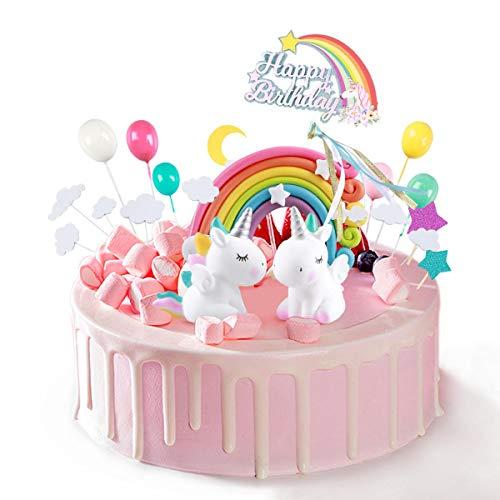 ZITFRI 26 Pcs Décorations de Gâteaux de Licorne Gâteau Anniversaire Arc en Ciel Ballon Nuages Etoiles et Lune pour Fête d'anniversaire pour Enfants