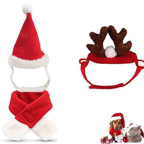 N/W Cat Santa Christmas Hat, Muffler, Elk Antler Reindeer Hat Pack of 3, Dog Santa Hat, Hats for Cats, Head Wear Accesories Christmas Costume Outfits for Pet Dog Cat Rabbit