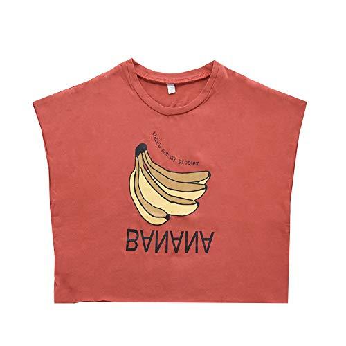Plus Nao(プラスナオ) Tシャツ カットソー 半袖 ドルマンスリーブ ラウンドネック キッズ 子供服 トップス 切りっぱなし バナナ プリント レッド 80cm