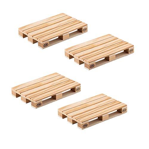noTrash2003 4er Set Holz-Untersetzer für Tassen und kleine Töpfe - Cooles Euro-Paletten-Design