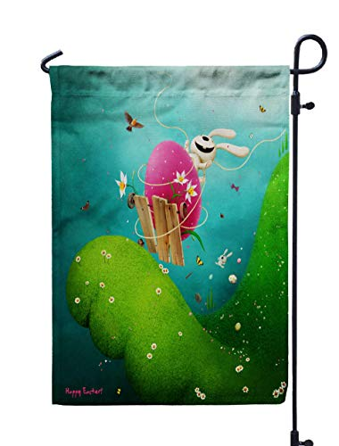 UIJDIAm Welcome Outdoor Garden Flag Home Yard Decorative 12X18 Inches Spring Holiday Greeting Card Poster Easter Funny Bunny Egg Double Sided Seasonal Garden Flags