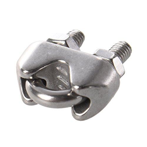 clips cable metallique - SODIAL(R) 10 pieces Serre-cable acier inox teinte argent 4mm
